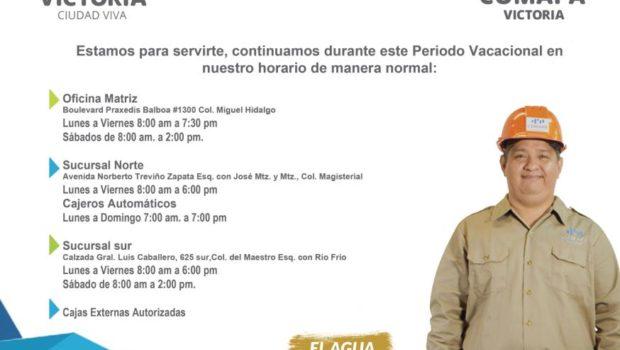 Atiende Comapa Victoria en periodo vacacional