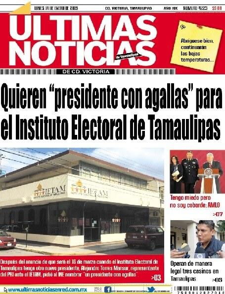 portada ultimasnoticias 14ene19